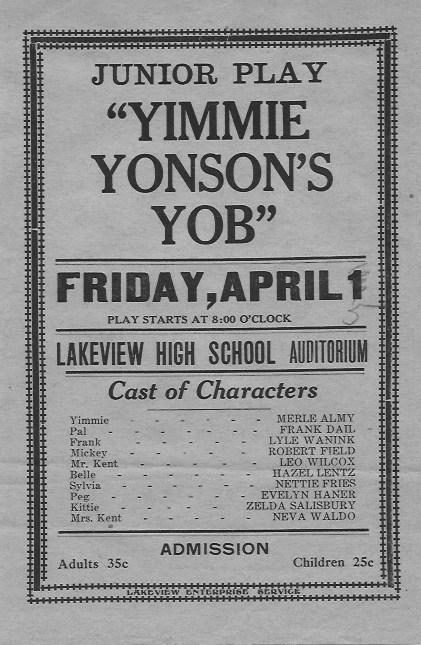 Junior Play, Lakeview HIgh School, 1927